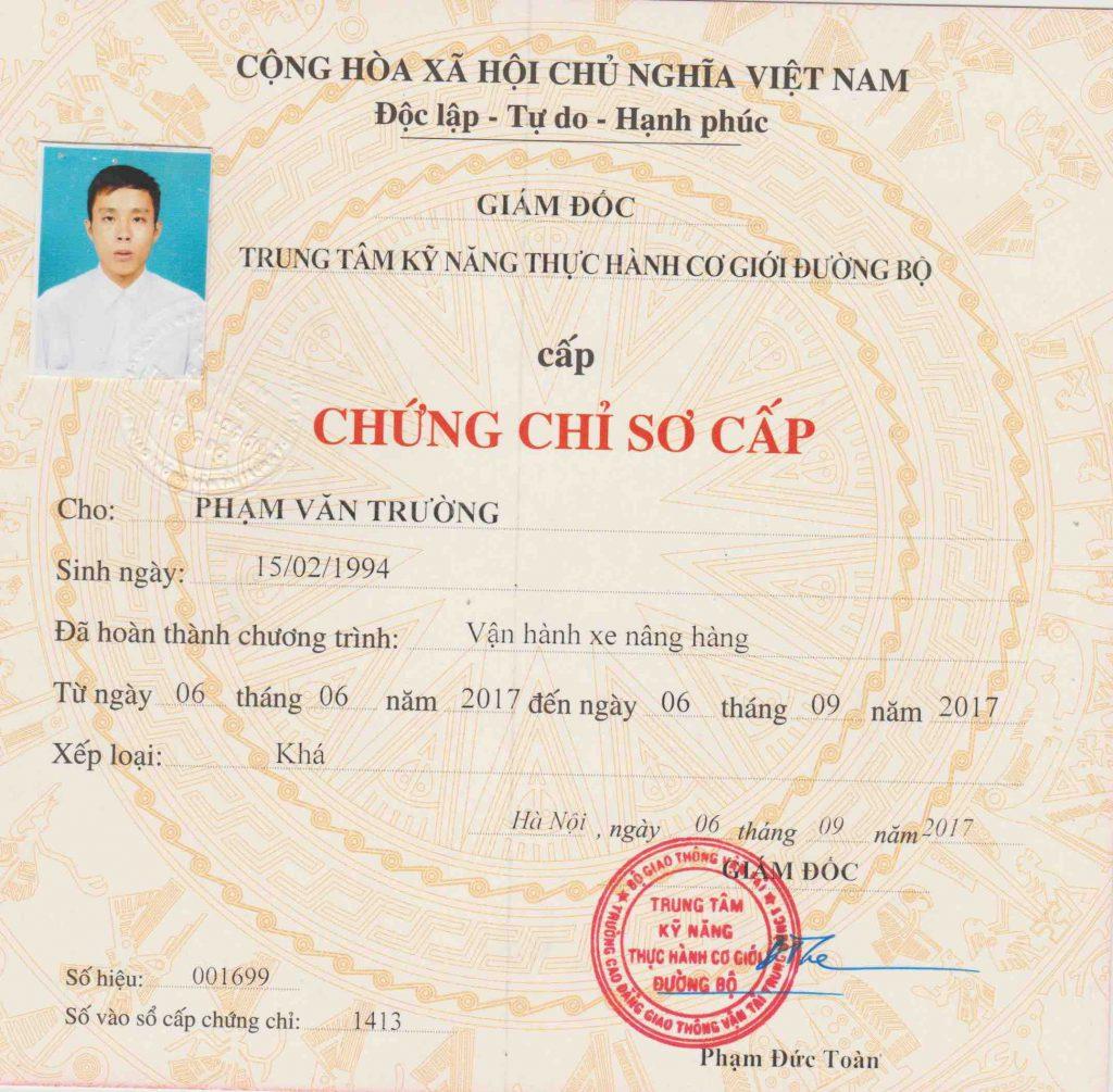 Chung Chi So Cap Van Hanh Xe Nang