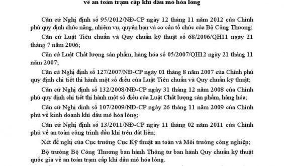 QUY CHUẨN QCVN 10 : 2012/BCT VỀ AN TOÀN TRẠM CẤP KHÍ DẦU MỎ HÓA LỎNG